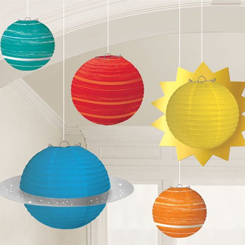 5 Space Party Hanging Planets Lanterns, Space Party Hanging Decorations, Space Party Decor, Space Decorations, Children's Space Party, 96cm