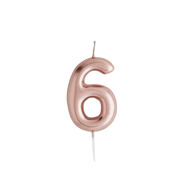 Number 6 Rose Gold Candle - HoorayDays