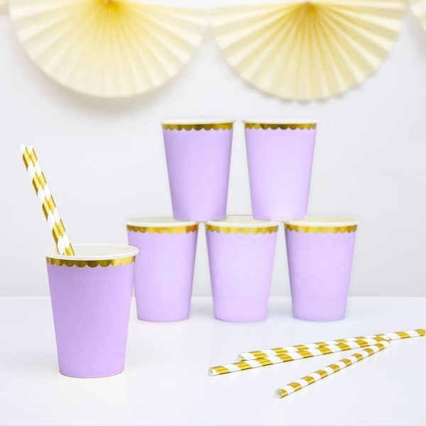 6 Purple and Gold Party Cups - HoorayDays