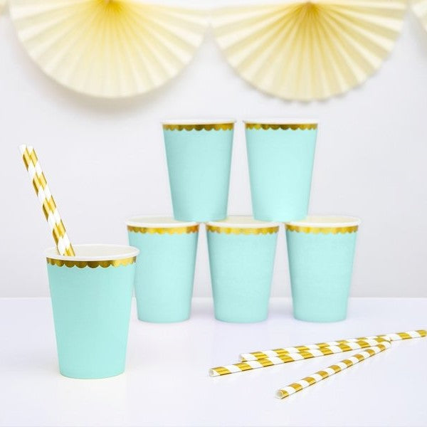 6 Mint Green and Gold Party Cups - HoorayDays