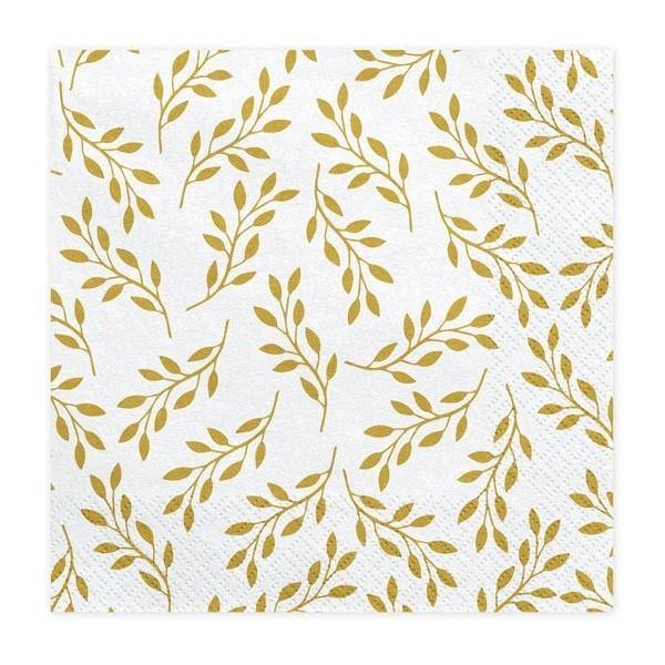 20 Gold Leaf Napkins - HoorayDays