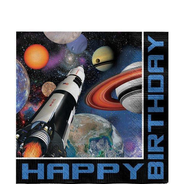 16 Space Birthday Party Napkins, Rocket Party, Space Party Decorations, Space Birthday Party, Children's Space Party,