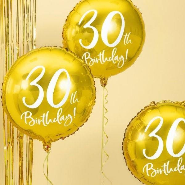 1 Gold 30th Birthday Balloon - HoorayDays
