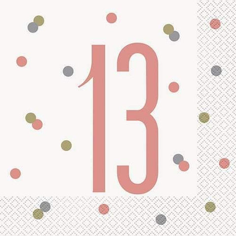 16 Rose Gold 13th Birthday Napkins - HoorayDays