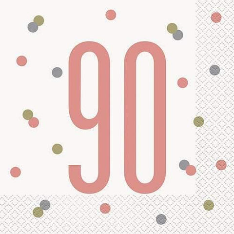 16 Rose Gold 90th Birthday Napkins - HoorayDays