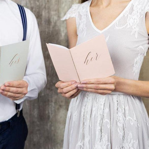 'Her' Pink Wedding Vow Books - HoorayDays