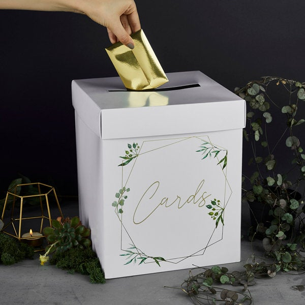 Gold Wedding Cards Post Box - HoorayDays