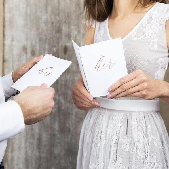 'Her' Rose Gold Wedding Vow Books - HoorayDays