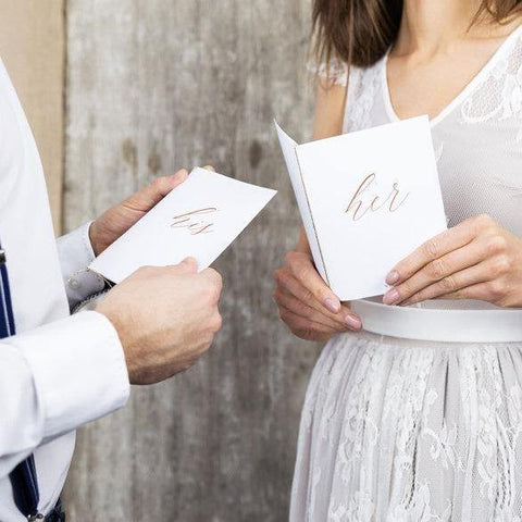 'His' Rose Gold Wedding Vow Books - HoorayDays