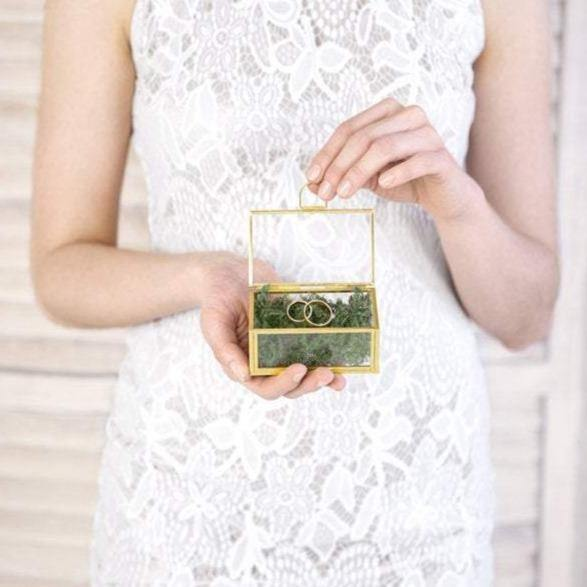 Gold Glass Ring Box - HoorayDays