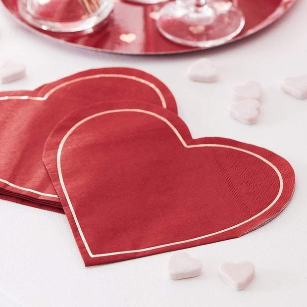 16 Rose Gold and Red Heart Paper Napkins - HoorayDays
