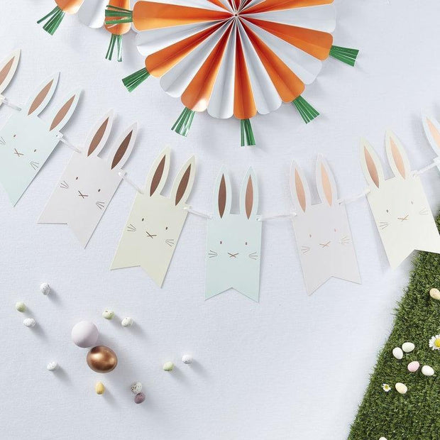 Rose Gold Bunny Party Bunting - HoorayDays