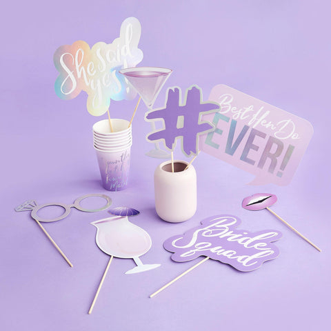 10 Purple and Silver Hen Party Photo Props - HoorayDays