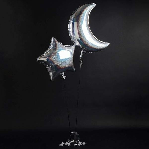 Moon Star Holographic Silver Space Party Balloons - HoorayDays