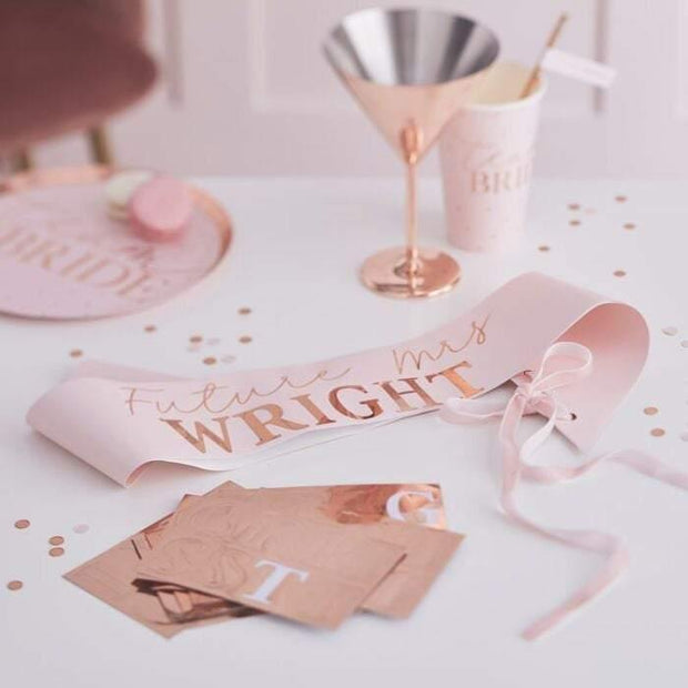 Rose Gold Personalised Future Mrs Sash - HoorayDays