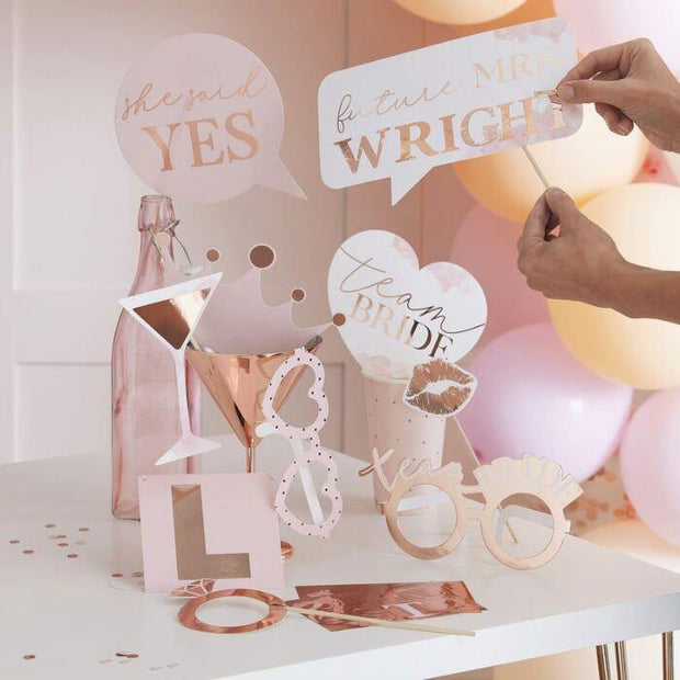 Pink and Rose Gold Hen Party Photo Props - HoorayDays