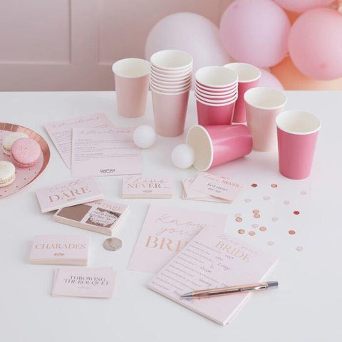 Rose Gold Pink Hen Party Games Hamper - HoorayDays