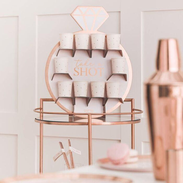 Blush Rose Gold Shot Hen Party Drinks Holder - HoorayDays
