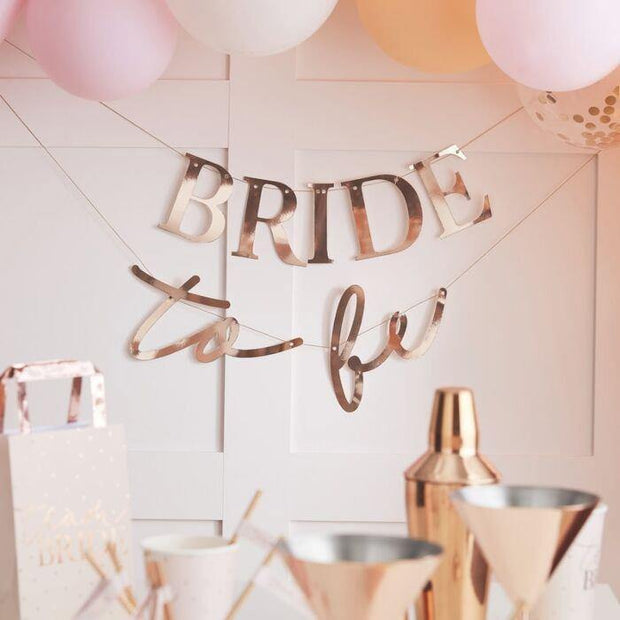 Rose Gold Bride to Be Banner - HoorayDays