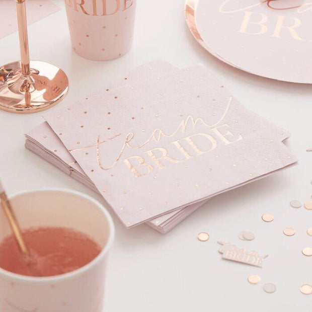 20 Blush Rose Gold Team Bride Napkins - HoorayDays