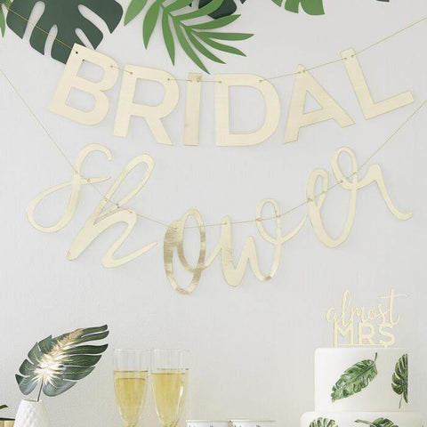 Gold Bridal Shower Bunting - HoorayDays