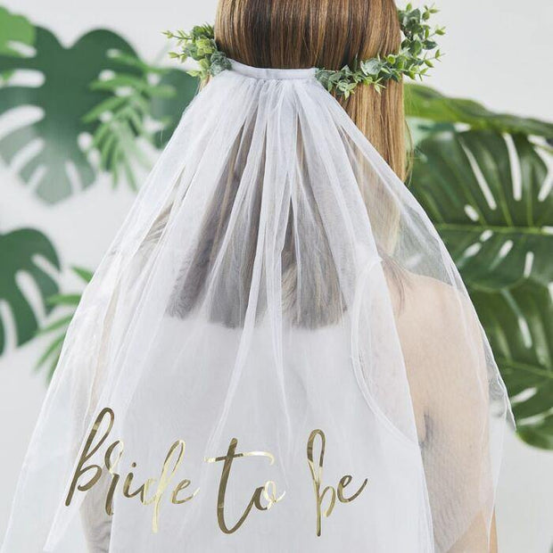 Eucalyptus Gold Bride to Be Headband Veil - HoorayDays