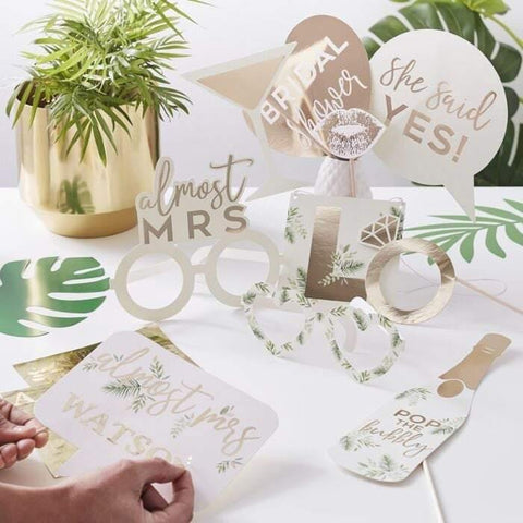Custom Gold Botanical Hen Party Photo Props - HoorayDays