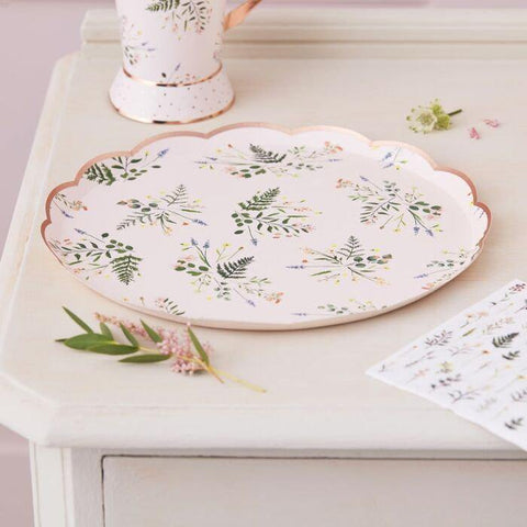 8 Blush Floral Rose Gold Hen Party Plates - HoorayDays
