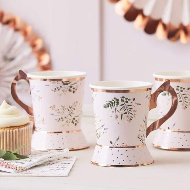 8 Floral Rose Gold Blush Teacups - HoorayDays
