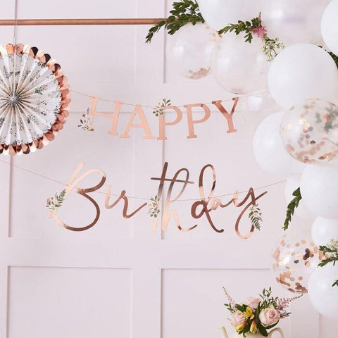 Rose Gold Happy Birthday Banner, Rose Gold Birthday Bunting, Rose Gold Birthday Party Decorations, Script Bunting, Rose Gold Garland - HoorayDays