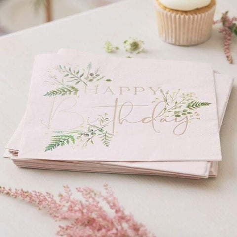 16 Floral Birthday Napkins - HoorayDays