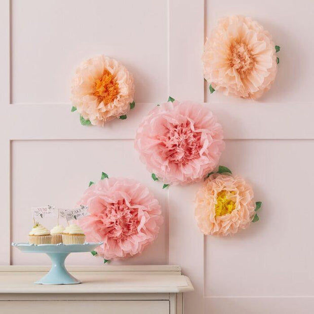6 Blush Pink Peach Tissue Flowers - HoorayDays