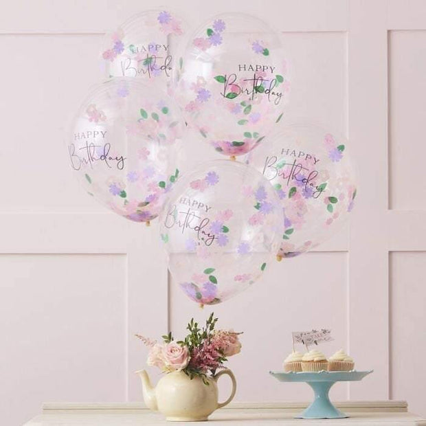 5 Floral Happy Birthday Confetti Balloons - HoorayDays