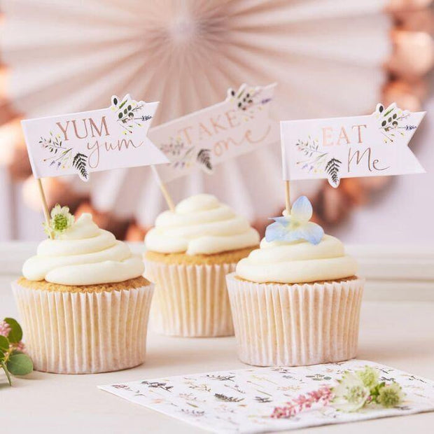 12 Floral Blush Cake Toppers - HoorayDays