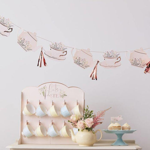 Rose Gold Floral Afternoon Tea Bunting - HoorayDays