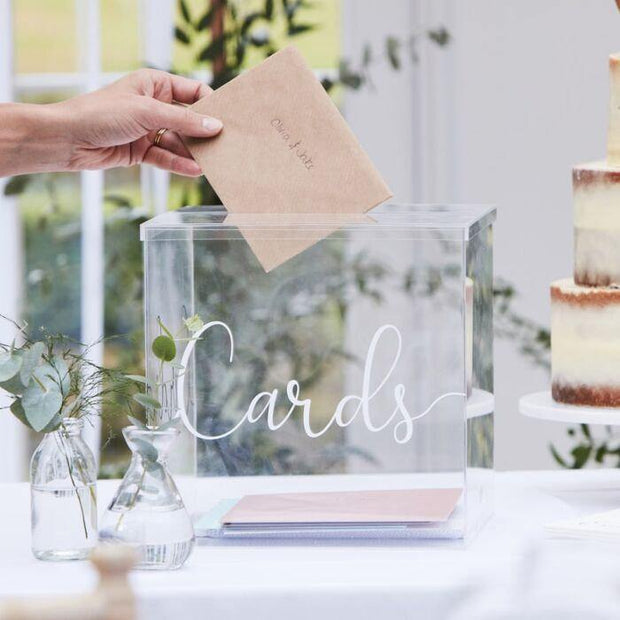 Clear Acrylic Wedding Post Box - HoorayDays