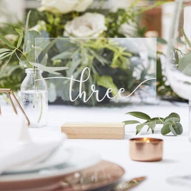 Acrylic White Table Numbers 1-12 - HoorayDays