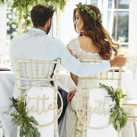 "Wooden Wedding "" Better Together "" Chair Signs - HoorayDays"