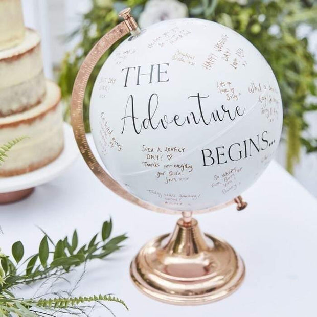 Rose Gold Globe - Guest Book Alternative - HoorayDays