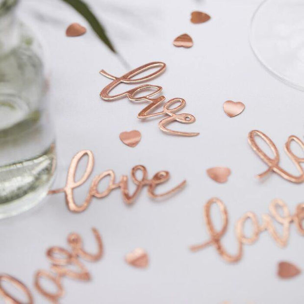 Rose Gold Love Heart Table Confetti - HoorayDays