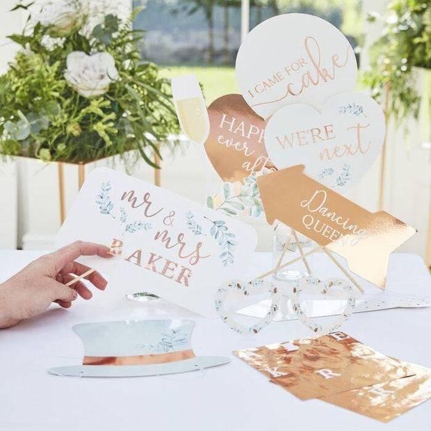 10 Personalised Rose Gold Wedding Photo Props - HoorayDays