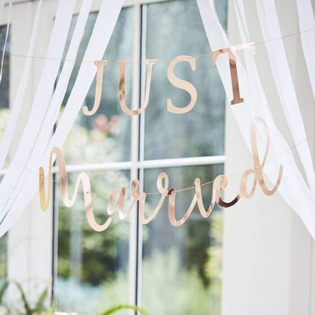 Rose Gold Just Married Bunting - HoorayDays