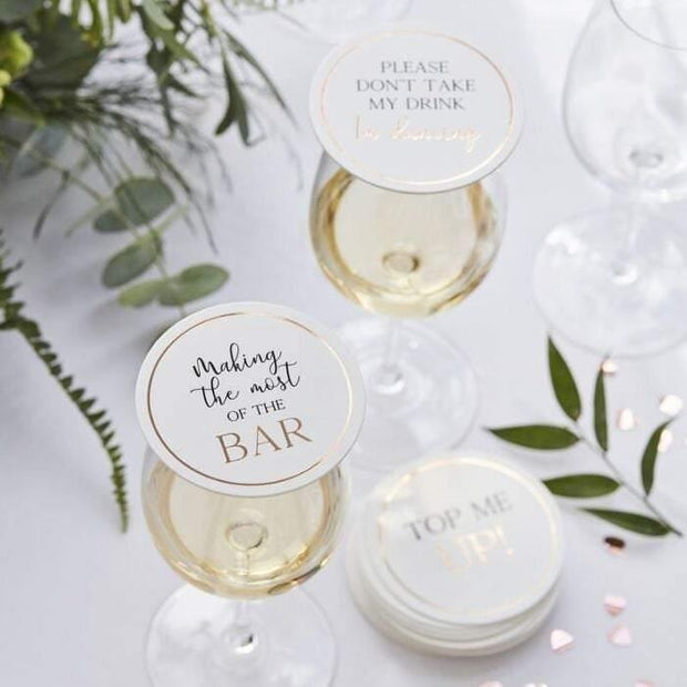 12 Rose Gold Wedding Drinks Coasters - HoorayDays