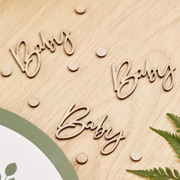 Wooden BABY Shower Script Table Confetti - HoorayDays