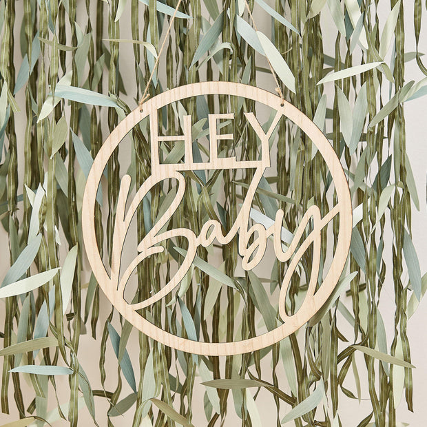 Wooden Hey Baby Shower Sign - HoorayDays