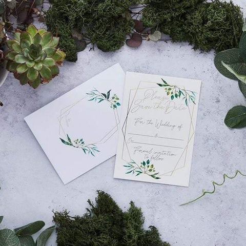 25 Gold Greenery Save the Date Wedding Invites - HoorayDays
