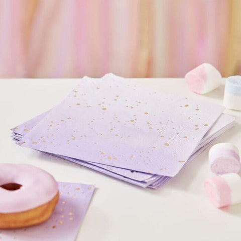 16 Lilac Gold Napkins - HoorayDays