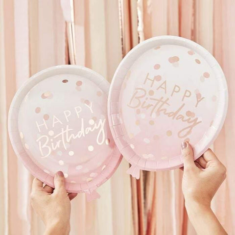 8 Rose Gold Blush Pink Happy Birthday Plates - HoorayDays