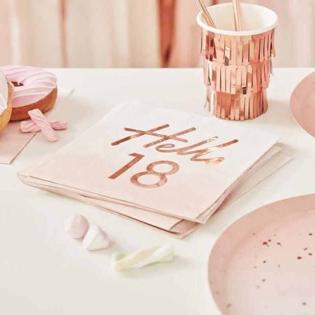 16 Rose Gold 18th Birthday Napkins - HoorayDays
