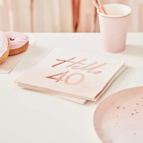 16 Rose Gold 40th Birthday Napkins - HoorayDays
